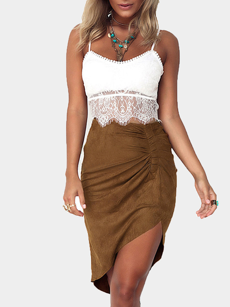 Khaki Front Folded Midi Skirt With Irregular Hem