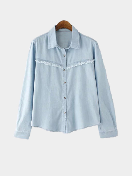 Tassel Detail Button Pocket Front Point Collar Shirt