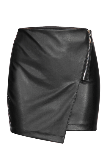 Black Leather Look Mini Skirt With Layered Design
