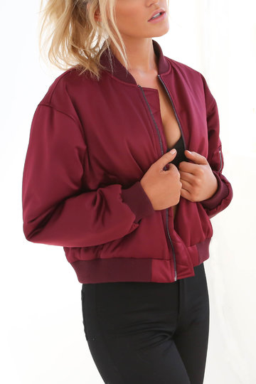 Burgundy Pockets Zipper Front Bomber Jacket