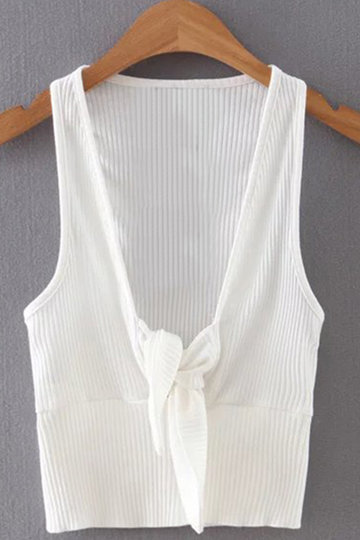 White V-neck Tie Front Embellished Sexy Crop