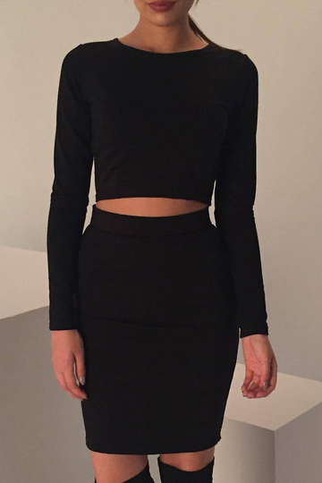 Black Bodycon Crew Neck Long Sleeves Top & Skirt Co-ord