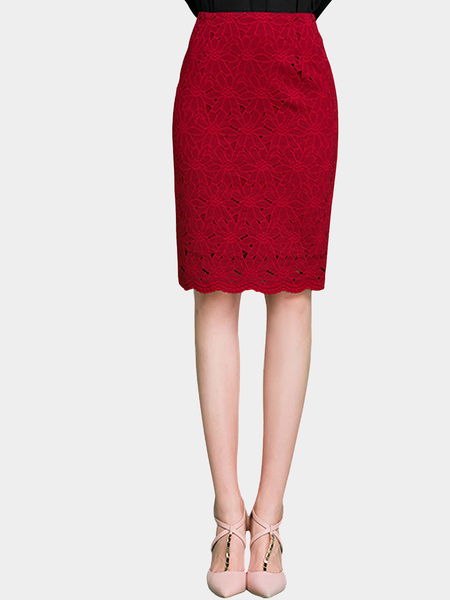 Burgundy High Rise Pencil Skirt Em Lace Floral
