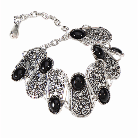 Vitange Bohemian Style Bracelet with Carved and Black Jewels Detail