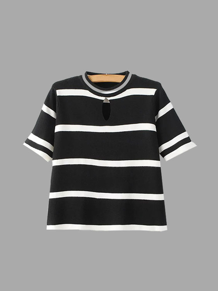 Stripe Pattern Knitted T-shirt with Hollow Detailing