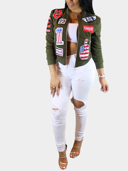 Green Zip Pockets Stitching Embroidery Fashion Jacket