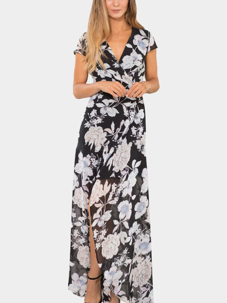 Floral Print Wrap front Self-tie Maxi Dress in Black