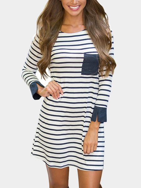 Ronde Motif du cou Stripe Chest Pocket Causal Dress