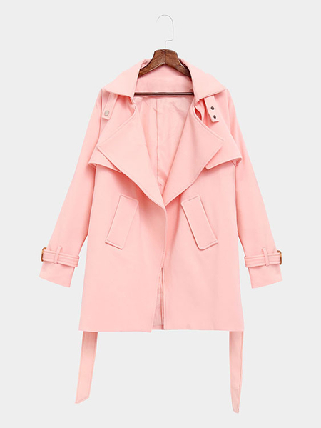 Pink Self-tie Waist Button Details Lapel Collar Coat