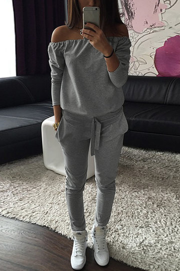 Grey Casual Off-shoulder Jumpsuit With Pockets