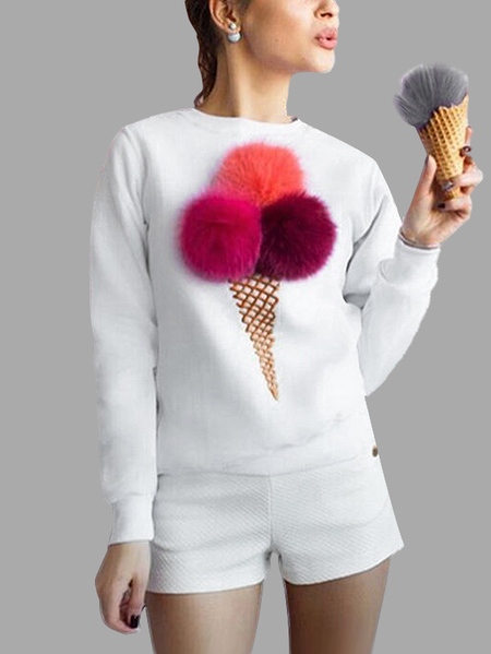 Buy White Round Neck Sweatshirt Pom Details