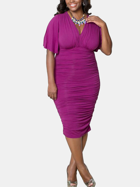 Purple Plus Size Plunge crespada Neck Dress