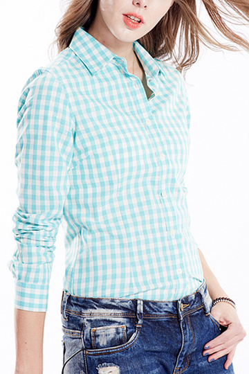 Blue English Collar Buttons Front Grid Pattern Shirt