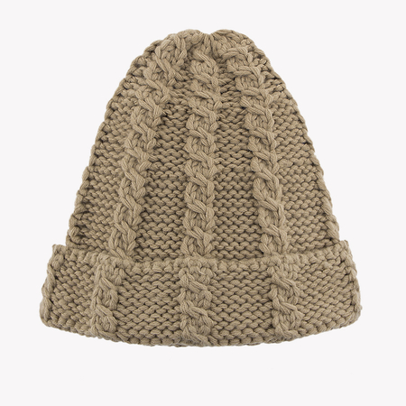 Kaki Cable Knit Beanie Hat