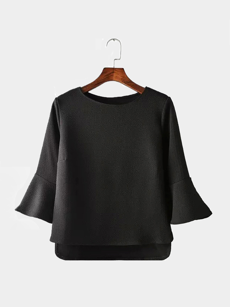 Black Flared Sleeve Scoop Collar Top with High-low Hem