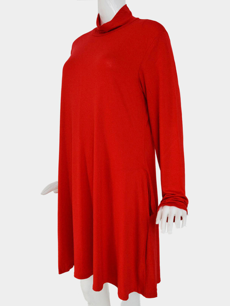 Plus Size High Neck Swing Dress in Red