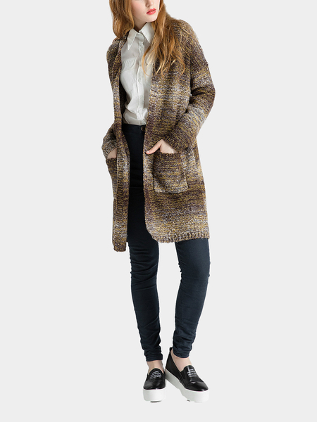 Brown Knitted Cardigan with Open Front