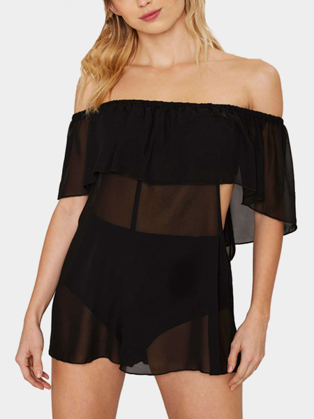 Nero spalle Lace-up puro Beach Cover-up
