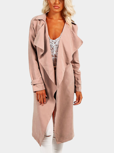 Pink Fashion Lapel Splited Coat