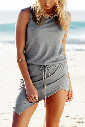 Sleeveless Mini Dress with Asymmetric Hem