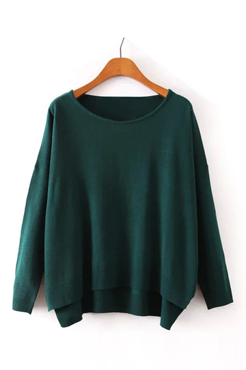 Semi-sheer Long Sleeve Knitted Top in Green