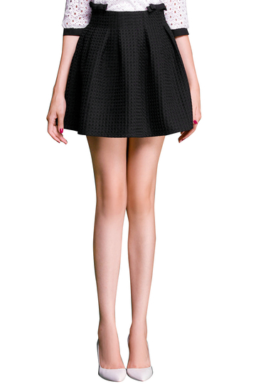 Black High Waist Mini Pleated Skater Skirt