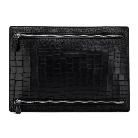 Croc Embossed Couro-olhar Clutch Bag in Black