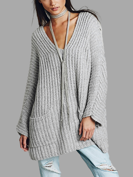 Buy Oversize Light Grey Raglan Sleeve Pocket Front Plunge Sweater