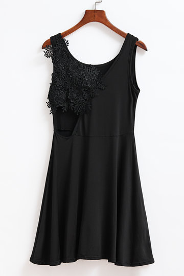 Black Stitching Lace Backless Flounced Hem Vest Dress