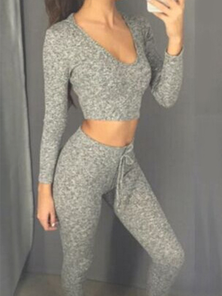 Grey Sexy V-neck Cropped Suit With Hood