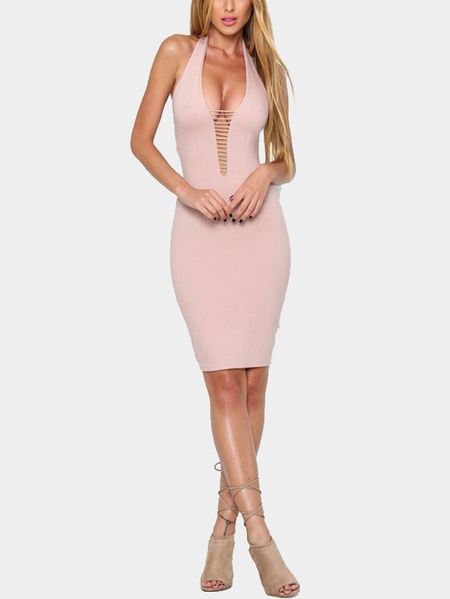 Rosa Halter Sexy oco Out Mini vestido