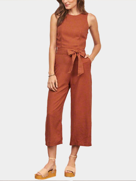 Sleeveless Open Back Self-tie Front Jumpsuit
