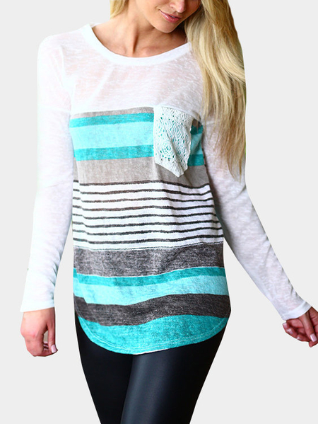Casual Random Color Block Long Sleeves T-shirt With Stripe Pattern