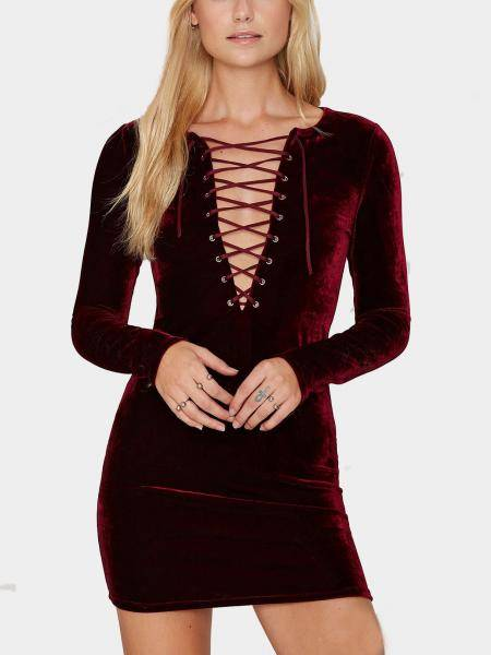 Burgundy Lace Up Velvet Mini Dress