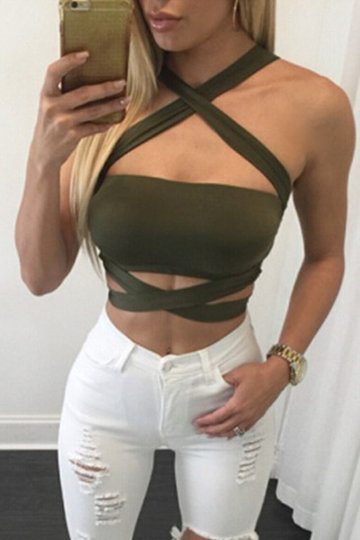 Sexy Crop Top with Cutout Details