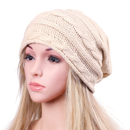 Beige Fashion Crochet Knit Ribbed Beanie Hat