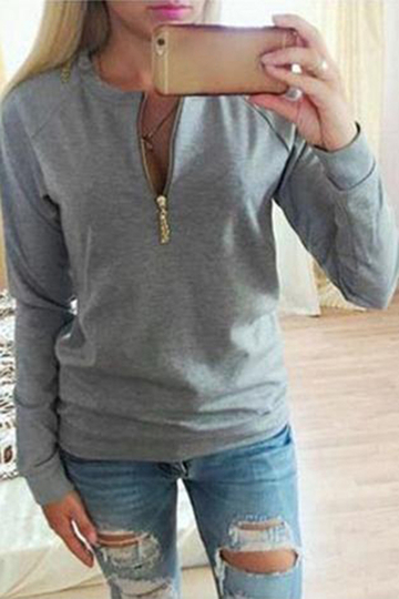 Grey Casual Zip Front Sweatshirt