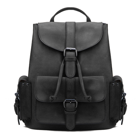 Black Backpack with Drawstring Design and Magnetic Closure