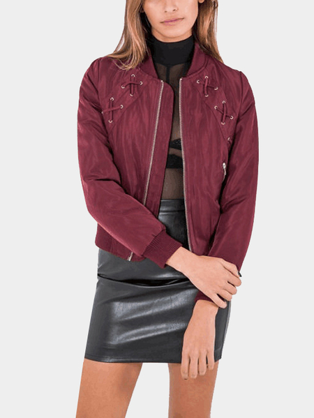Red Fashion Zipper Lace-up Bomber Jacket with Zip Pockets