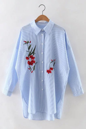 Embroidery Stripe Pattern shirt