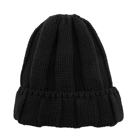 Noir Fluffy Turn Up Rib Beanie