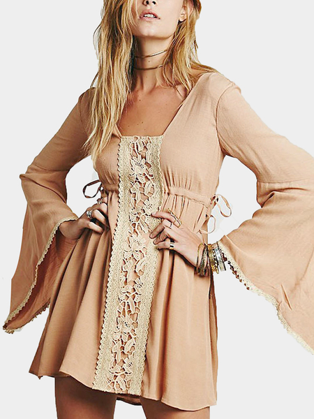 Light Brown Flared Dress with Open Back