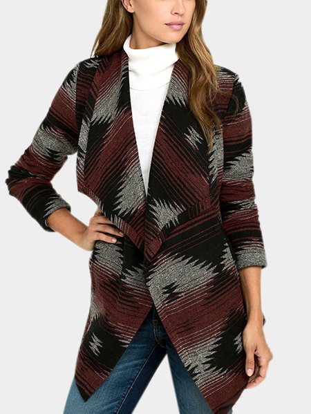 Ladies Geometrical Pattern Open Front Long Sleeves Side Pockets Casual Coat