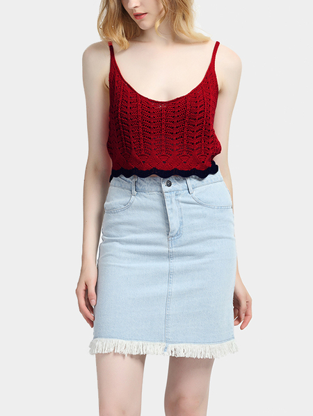 Casual Red Vest Top with Hollow Out