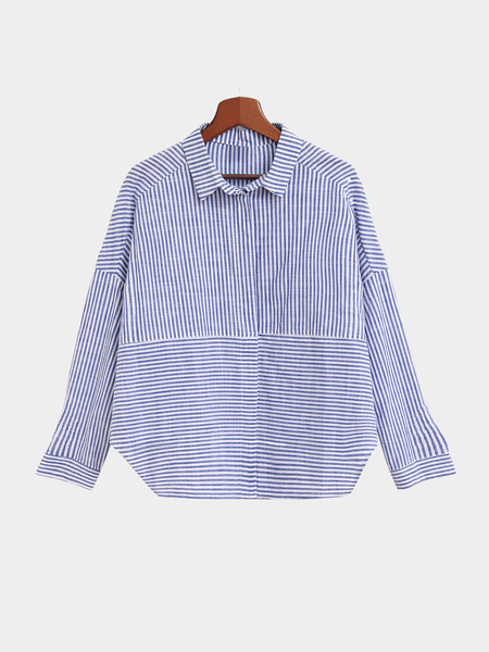 Blue And White Stripe Pattern Shirt In Fashion Design