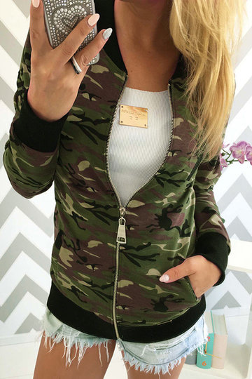 Camouflage Pattern maniche lunghe tasche laterali Fashion Jacket
