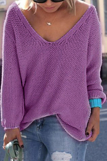 Classic Design Loose Plunge Sweater