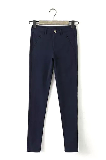 Navy Trousers with Zipped Pocket