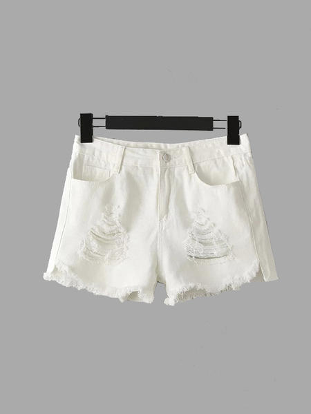 Blanc Fringe Ripped Denim Shorts