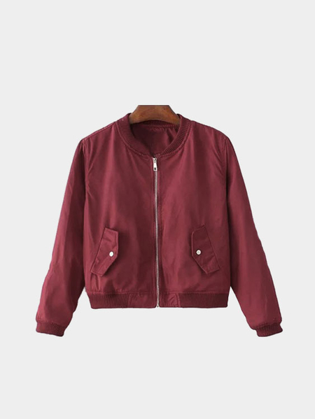 Red Bomber Jacket In Basic Style